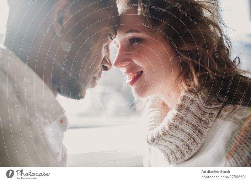 Couple in sweaters bonding Style Easygoing Beautiful Sweater Bonding Date Mixed race ethnicity