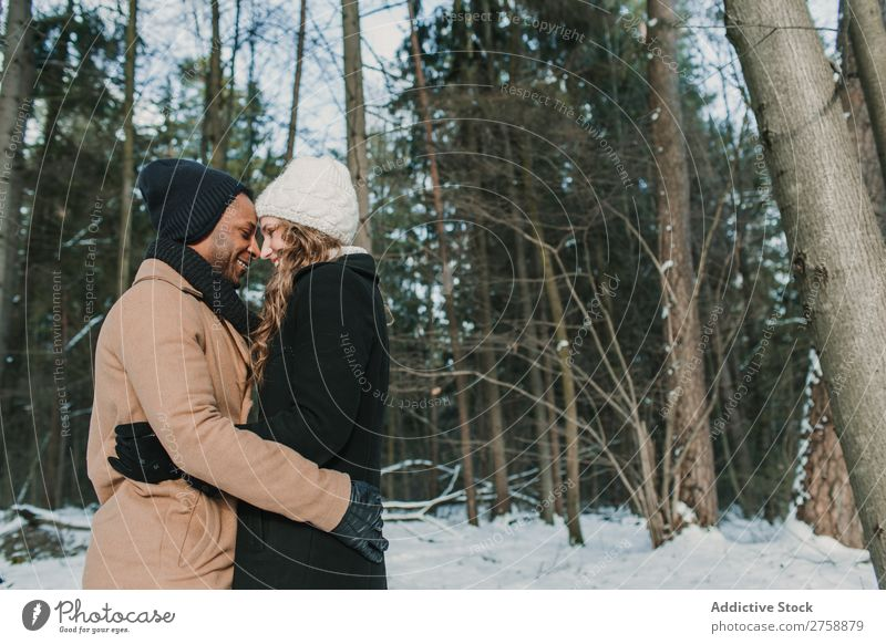 Couple posing in winter forest Style Easygoing Nature Forest Winter Snow Beautiful