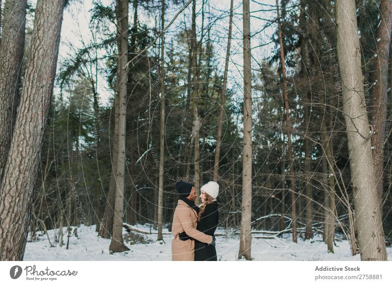 Couple posing in winter forest multiethnic Style warm clothes Easygoing Nature Forest Winter Snow piggyback Beautiful Mixed race ethnicity Black