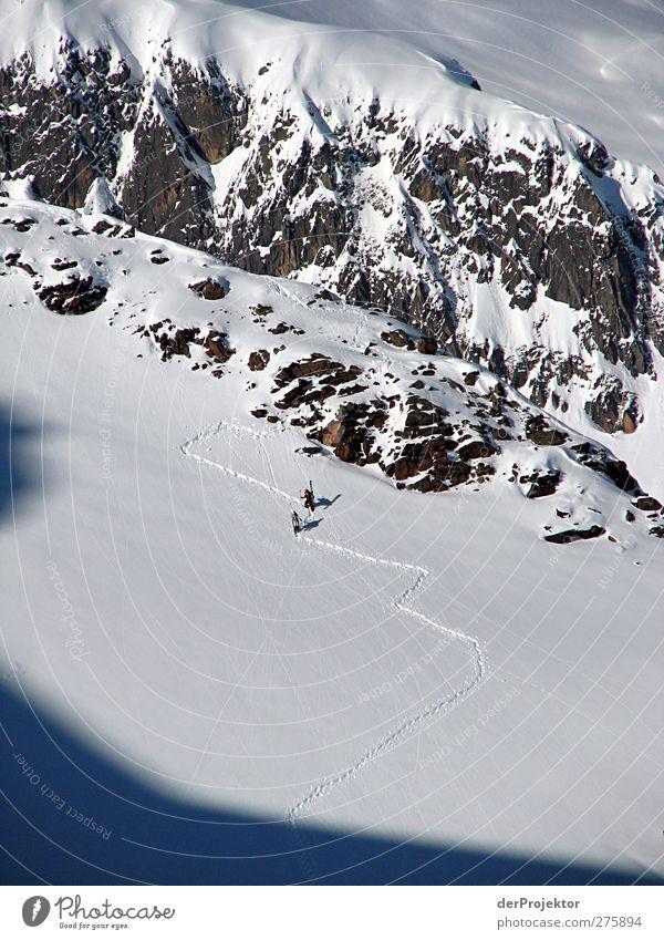 Snow Hike Austria Sports Winter sports Sportsperson Hiking Skiing Ski run Human being Adults Life 2 Nature Landscape Rock Mountain Peak Snowcapped peak Glacier