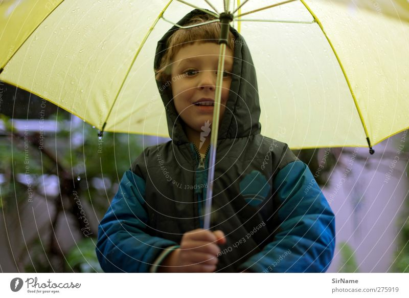 204 [Come on now!] Child Boy (child) Infancy 1 Human being 3 - 8 years Drops of water Beautiful weather Bad weather Rain Jacket Umbrella Brunette Smiling