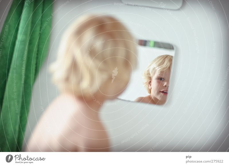 mirror image 2 Human being Masculine Child Toddler Boy (child) Head Hair and hairstyles Face Eyes Back 1 1 - 3 years Bathroom Mirror Mirror image Towel Looking