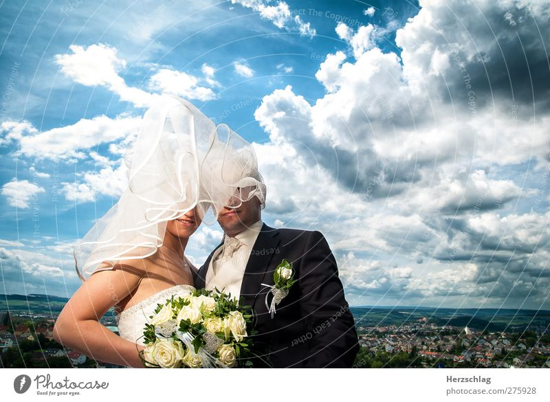 Human being Youth (Young adults) Blue Beautiful Summer Adults Feminine Life Happy Couple Mouth Masculine Wedding Happiness Future Warm-heartedness