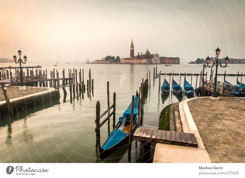 Gondolas in the morning in Venice Vacation & Travel Tourism Sightseeing City trip Summer Town Old town Deserted Church Kitsch Eroticism Blue Brown Yellow Gold