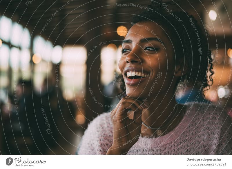 Happy beautiful black woman Woman Portrait photograph Black Considerate African Nationalities and ethnicity Smiling Copy Space Looking away Horizontal
