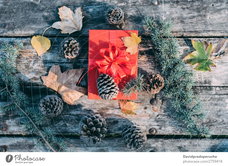 Christmas decoration in a wood table outdoors Christmas & Advent Gift Life Still Life Background picture Decoration Vacation & Travel Pine