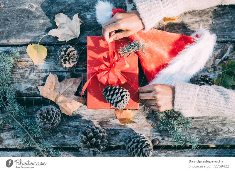 Woman arms doing christmas decoration in a wood table outdoors Christmas & Advent Gift Hat Santa Claus Life Still Life Hand