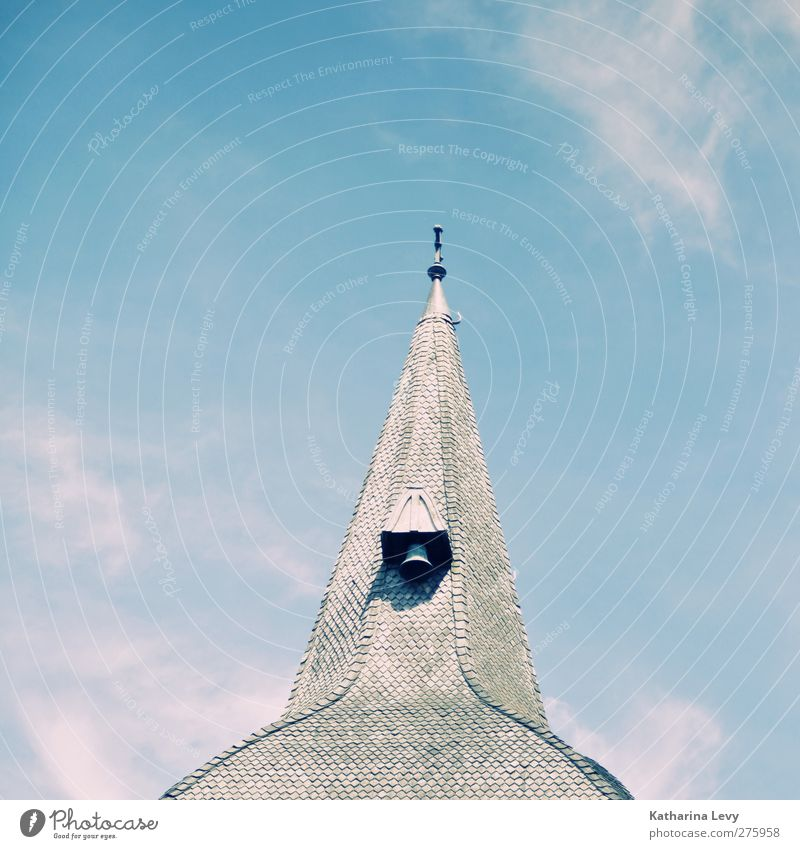 So close to heaven Sky Clouds Beautiful weather Church Tower Building Architecture Roof Sharp-edged Bright Blue Gray White Calm Fear of heights