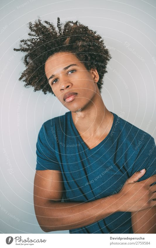 Portrait of a young thoughtful mixed race man Man Black Youth (Young adults) Portrait photograph Human being Mixed Racing sports American African