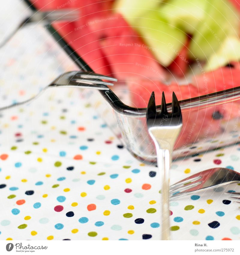 refreshment Fruit Derby Nutrition Crockery Bowl Cutlery Fork Authentic Healthy Delicious Juicy Sweet Multicoloured Tablecloth Spotted Point Refreshment Vitamin