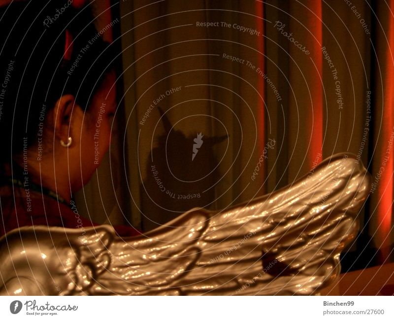 Angel/devil? Devil Woman Girl Human being Wing Shadow Mask Back Gold Antlers