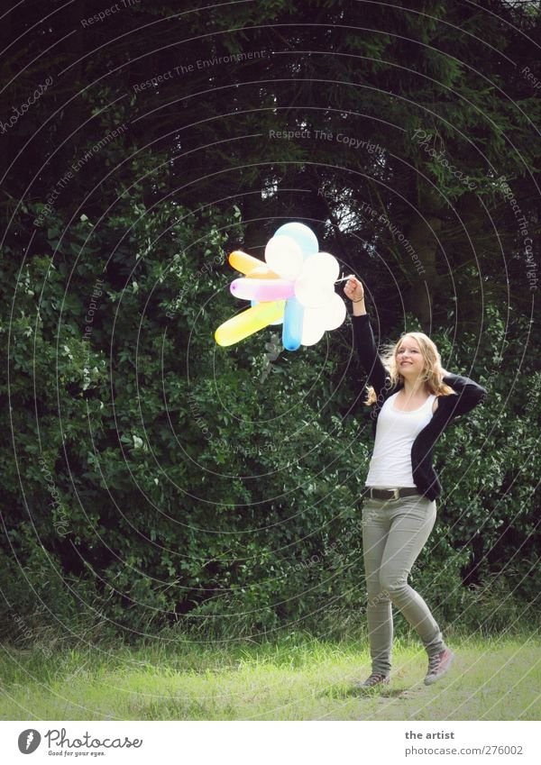 Freedom Human being Feminine Young woman Youth (Young adults) Woman Adults 1 Blonde Long-haired Balloon Walking Jump Authentic Friendliness Happiness Green Joy