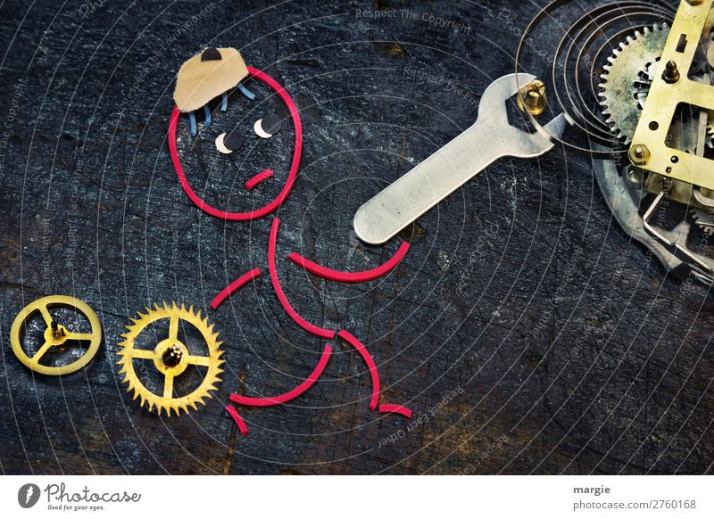 Rubber worms: Time change. A mechanic uses a wrench to turn a clockwork Tool Time machine Measuring instrument Clock Technology Advancement Future Human being