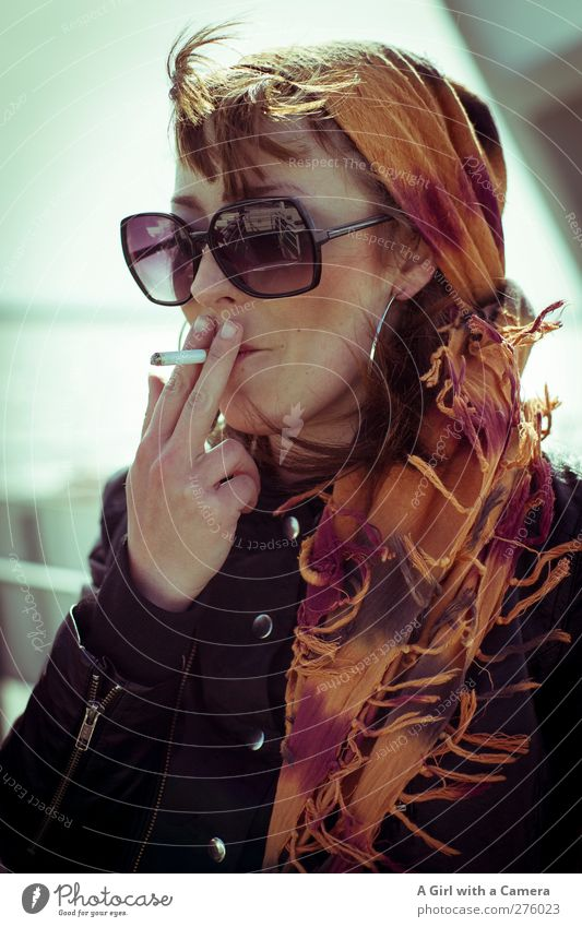 Human being Youth (Young adults) Hand Beautiful Adults Feminine Young woman Head Healthy Orange 18 - 30 years Elegant Cool (slang) Retro Uniqueness Smoking
