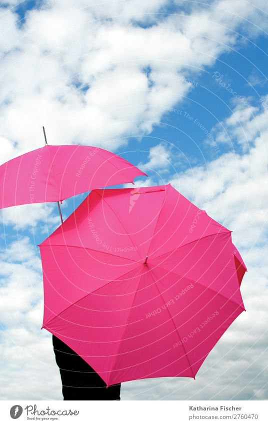 umbrellas pink sky white clouds Sky Clouds Spring Summer Autumn Winter Weather Beautiful weather Bad weather Blue Pink White Climate Creativity Art Umbrella