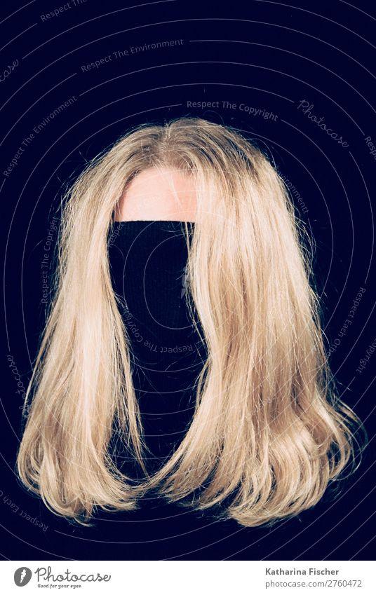 blonde hair head black turtleneck sweater Style Hair and hairstyles Head Blonde Long-haired Exceptional Brown Gold Black Presentation Faceless Colour photo