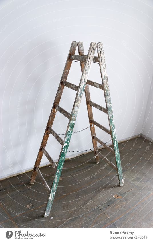 Lonely she stood there Home improvement Redecorate Craft (trade) Ladder Wood Painting (action, work) Old Dirty Colour photo Interior shot Deserted