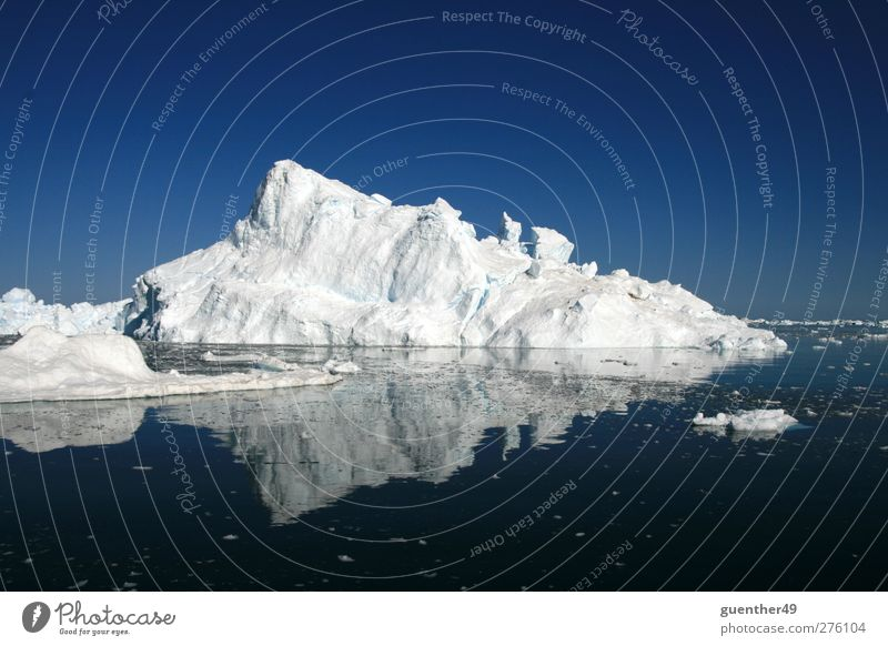 Ice in the mirror Far-off places Snow Elements Water Climate change Frost Mountain Iceberg Cold Nature Colour photo Exterior shot Deserted Twilight Long shot