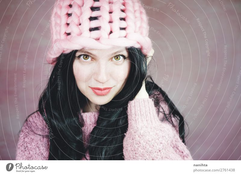 Beautiful and expressive brunette woman in pink Woman Human being Youth (Young adults) Young woman Black 18 - 30 years Face Adults Feminine Style Fashion