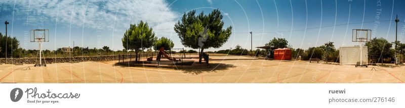Sky Blue Summer Clouds Sports Playing Sand Bright Brown Leisure and hobbies Panorama (Format) Playground Basketball Children's game Slide Sports equipment