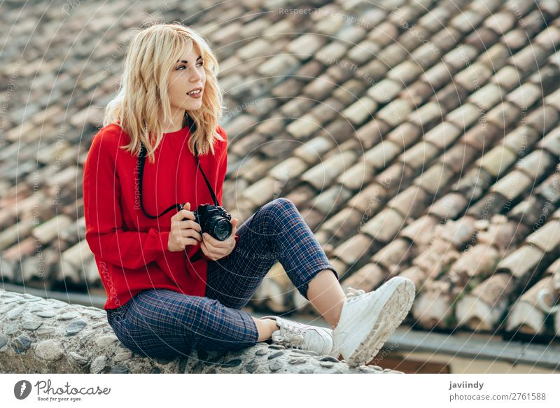 Woman taking photographs with an old camera Human being Vacation & Travel Youth (Young adults) Young woman Beautiful White 18 - 30 years Street Lifestyle Adults