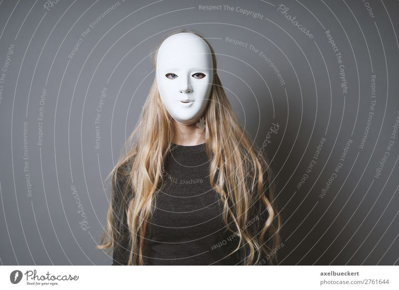 mysterious woman hides face behind mask Carnival Hallowe'en Human being Feminine Young woman Youth (Young adults) Woman Adults 1 18 - 30 years Stage play Actor