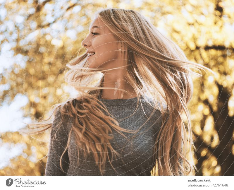 Woman Human being Nature Youth (Young adults) Young woman Sun Tree Joy Forest 18 - 30 years Lifestyle Adults Autumn Feminine Movement Laughter
