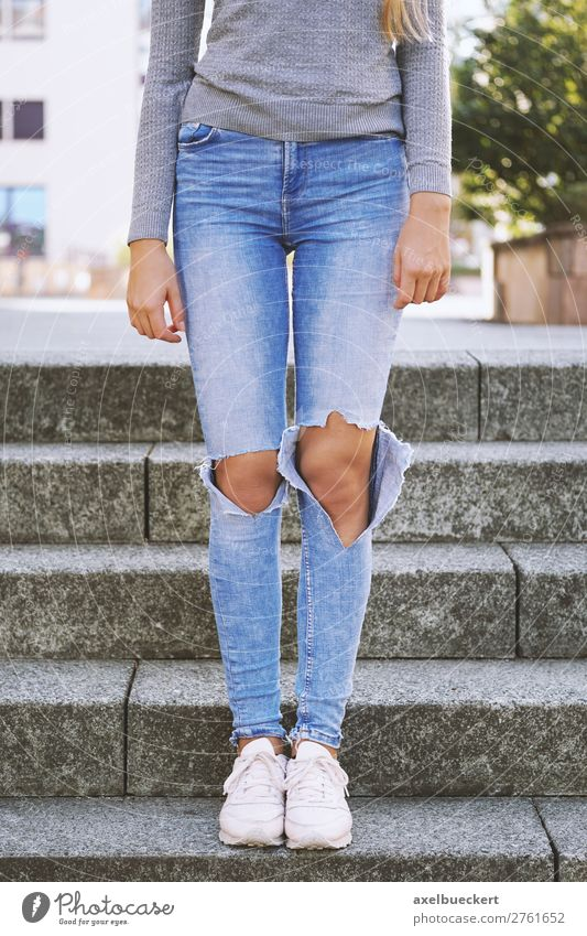 Ripped Jeans Fashion Trend Human being Feminine Girl Young woman Youth (Young adults) Woman Adults Legs 1 13 - 18 years 18 - 30 years Stairs Clothing Pants