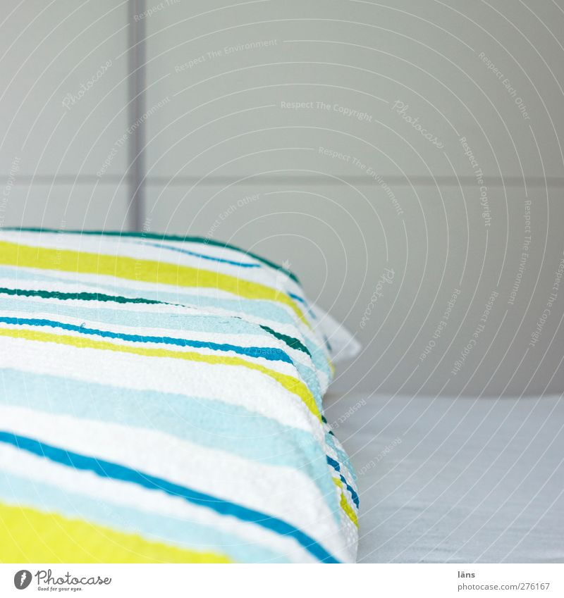 streaked Living or residing Flat (apartment) Bed Room Bedroom Bright Striped Bedclothes Blanket Sheet Clean Health care Interior shot Pattern Deserted