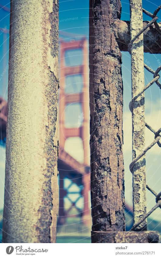 Blue Old City Red Brown Bridge Fence Rust Iron-pipe Landmark Column Golden Gate Bridge