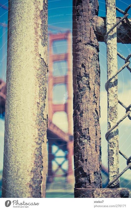Rusty Gate Bridge Landmark Old Town Blue Brown Red Fence Golden Gate Bridge Iron-pipe Column Subdued colour Exterior shot Close-up Deserted Copy Space left