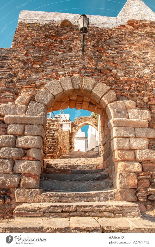 Medieval village Monsaraz in Alentejo Portugal Vacation & Travel Europe Village Small Town Old town Castle Gate Wall (barrier) Wall (building)