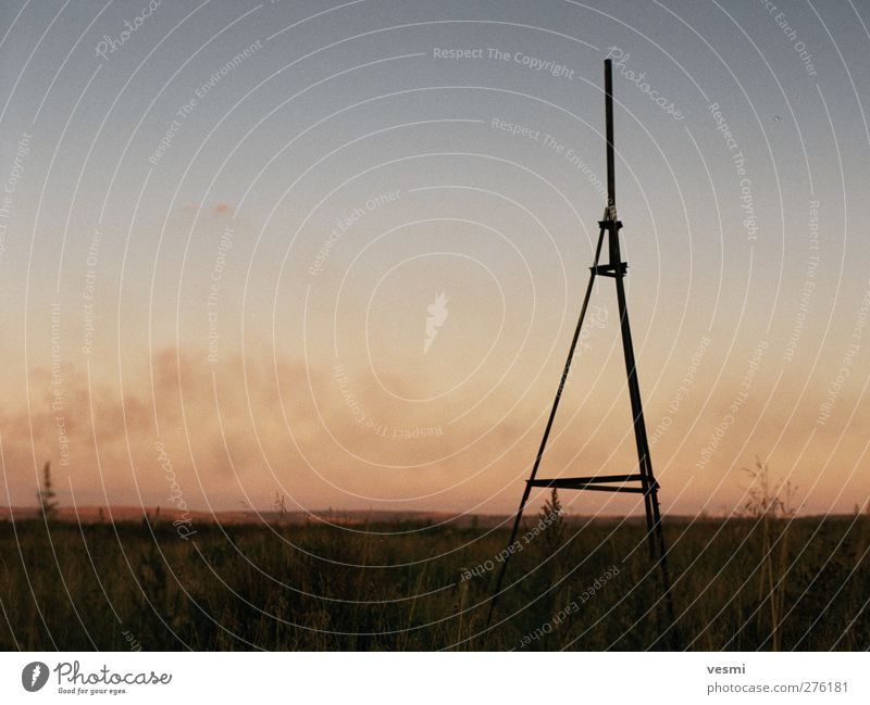 lightning conductors Landscape Sky Cloudless sky Lightning rod Dark Smoke Heaven Summer Sunset Warmth Steppe Calm Silhouette Line Stand Free space Safety