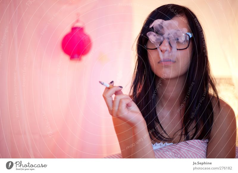 just blowin' smoke Lifestyle Style Smoking Intoxicant Bedroom Human being Feminine Young woman Youth (Young adults) 1 18 - 30 years Adults Eyeglasses