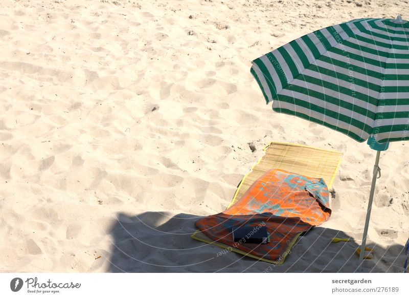 Vacation & Travel Green Summer Beach Loneliness Calm Relaxation Yellow Warmth Sand Orange Contentment Leisure and hobbies Book Places Stripe