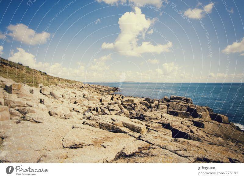 Sky Blue Water Summer Sun Ocean Clouds Landscape Grass Coast Stone Horizon Swimming & Bathing Rock Earth Waves