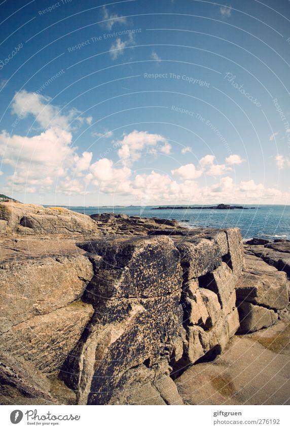 Sky Nature Blue Water Summer Ocean Clouds Landscape Far-off places Environment Coast Stone Rock Earth Island Elements