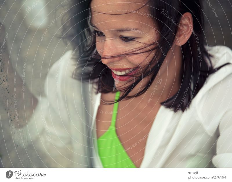 windy Feminine Young woman Youth (Young adults) 1 Human being 18 - 30 years Adults Wind Brunette Happiness Beautiful Laughter Colour photo Exterior shot Day