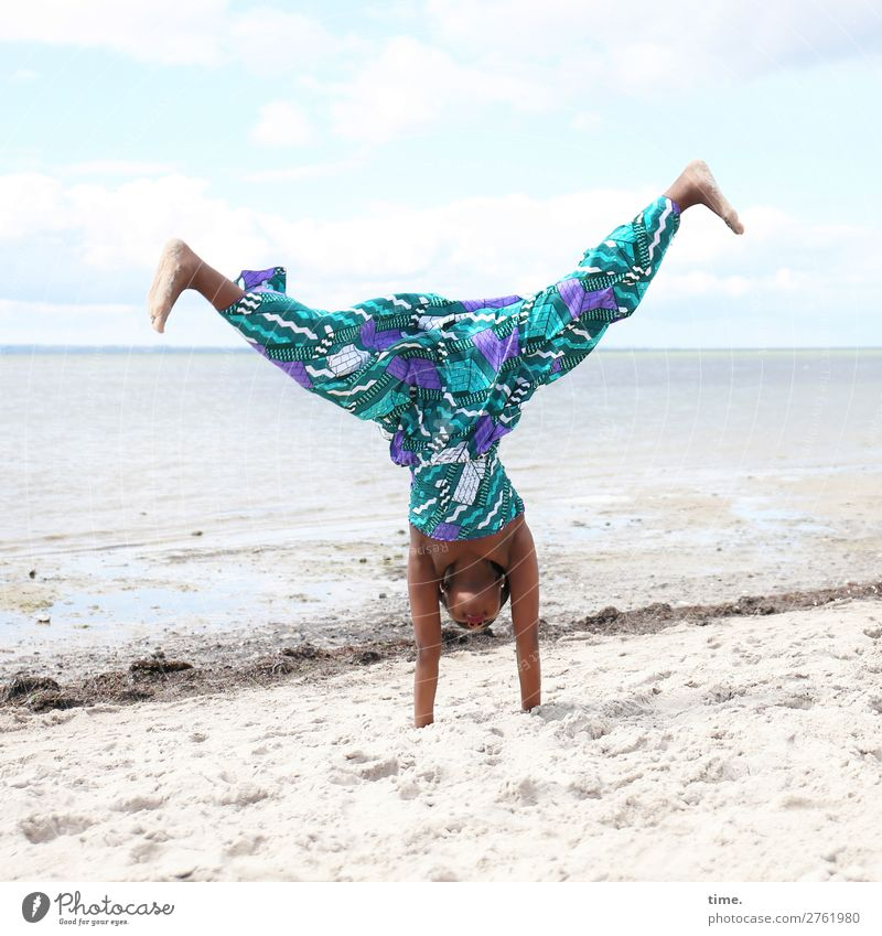 Human being Sky Beautiful Water Joy Girl Life Funny Feminine Sports Coast Movement Sand Wild Horizon Power