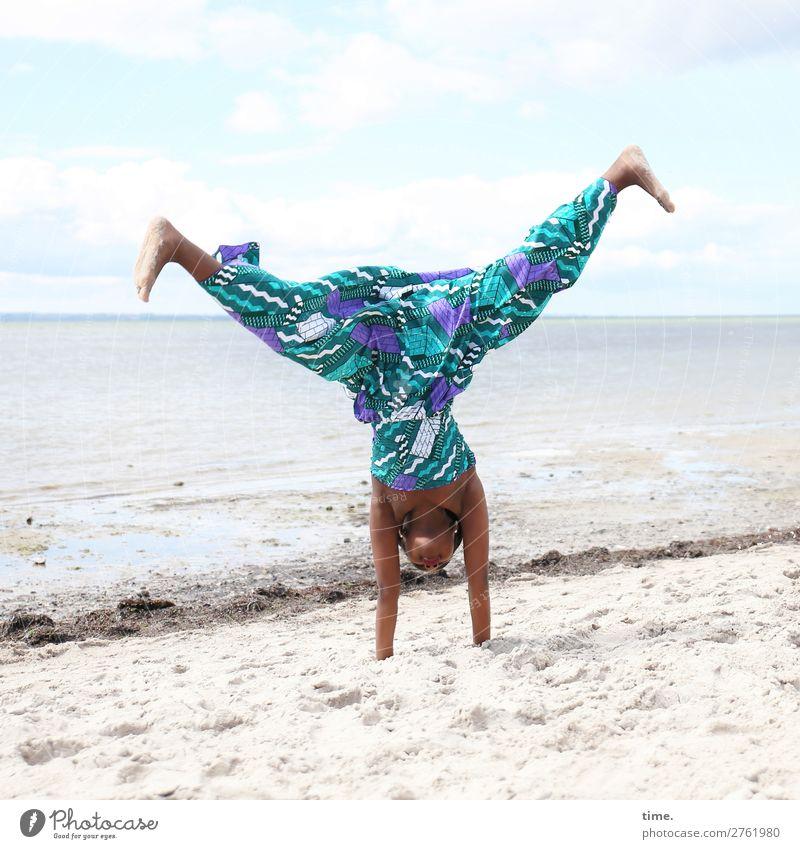 lust for life Sports Fitness Sports Training Handstand Feminine Girl 1 Human being Sand Water Sky Horizon Beautiful weather Coast Baltic Sea Dress Barefoot