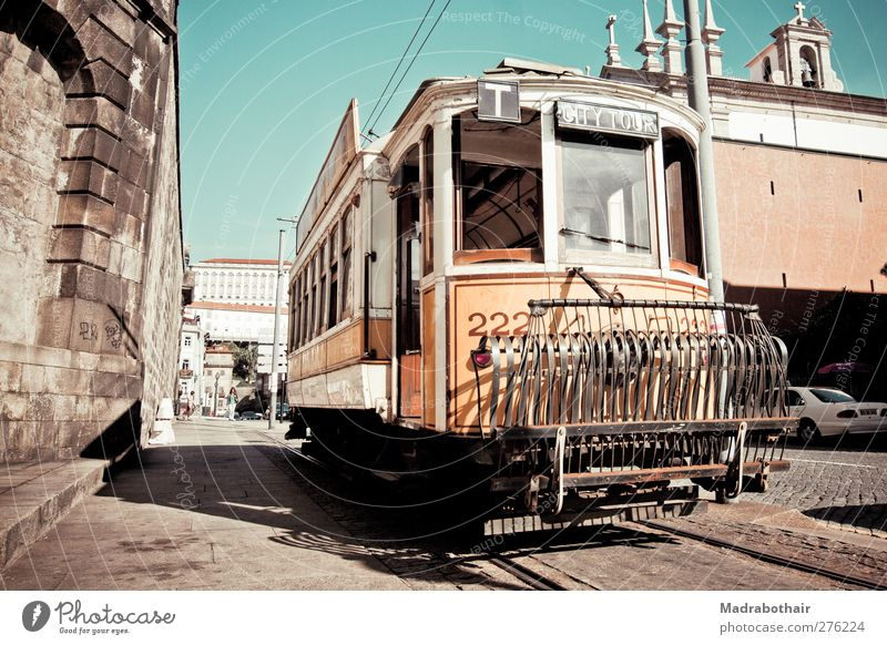old tram in Porto City trip Portugal Europe Town Downtown Old town House (Residential Structure) Transport Means of transport Public transit Road traffic