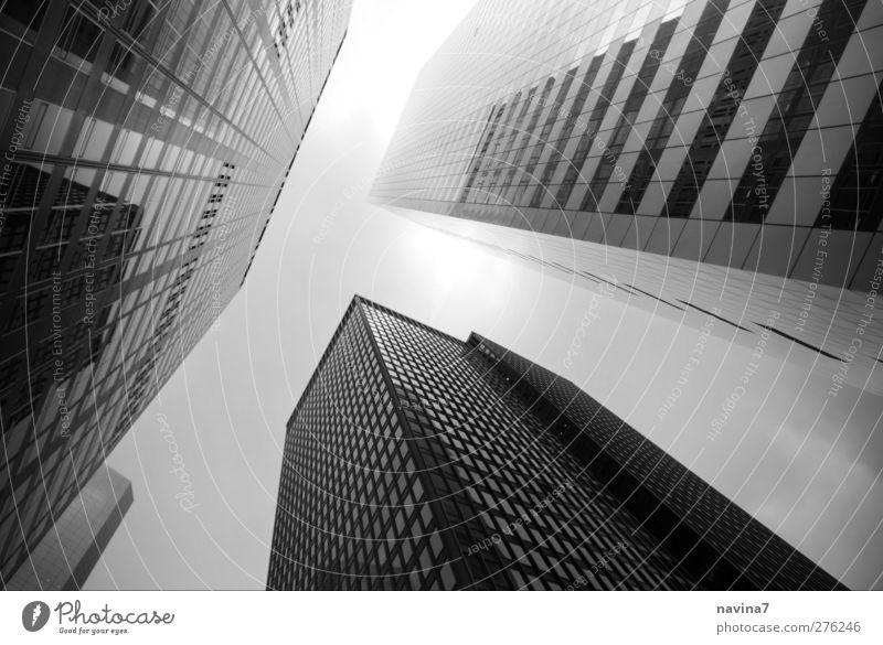 skyscrapers Stock market Architecture New York City Capital city Deserted House (Residential Structure) High-rise Building Large Tall Black White Advancement