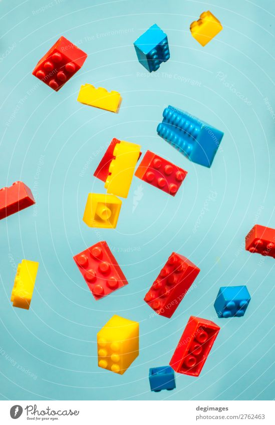 Floating Plastic geometric cubes in the air. Construction toys Child Blue Colour Movement Playing Design Infancy Toys Brick Conceptual design Build Consistency