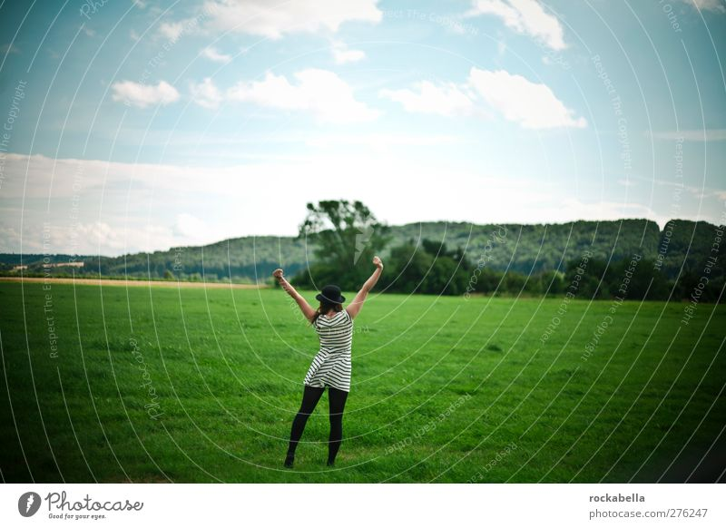 Woman in landscape Feminine Young woman Youth (Young adults) 1 Human being 18 - 30 years Adults Nature Landscape Hat Black-haired Brunette Green Joy Happy