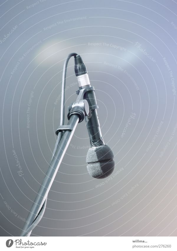 Microphone that has a stand. ,-) Music Media industry Microphone lead microphone stand Entertainment electronics Podcast Concert Blue Gray Culture