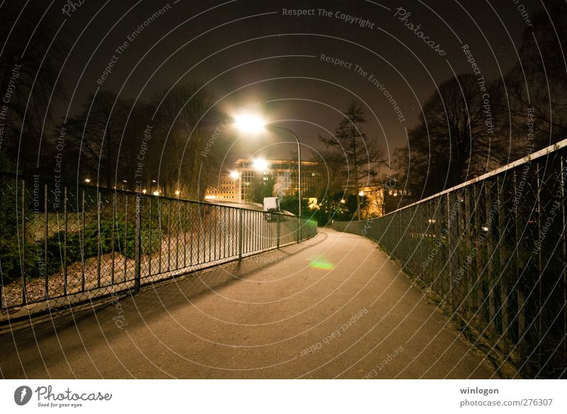 Bridge at night Architecture Park Wuppertal cash investments Town House (Residential Structure) Transport Traffic infrastructure Road traffic Motoring Cycling