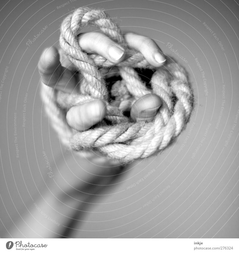Claw of a macramé owl Study Rope Hand Fingers String Knot Firm Effort Chaos Fiasco Adversity Precision Irritation Muddled Shackled Sisal Loop Coil Clumsy billet