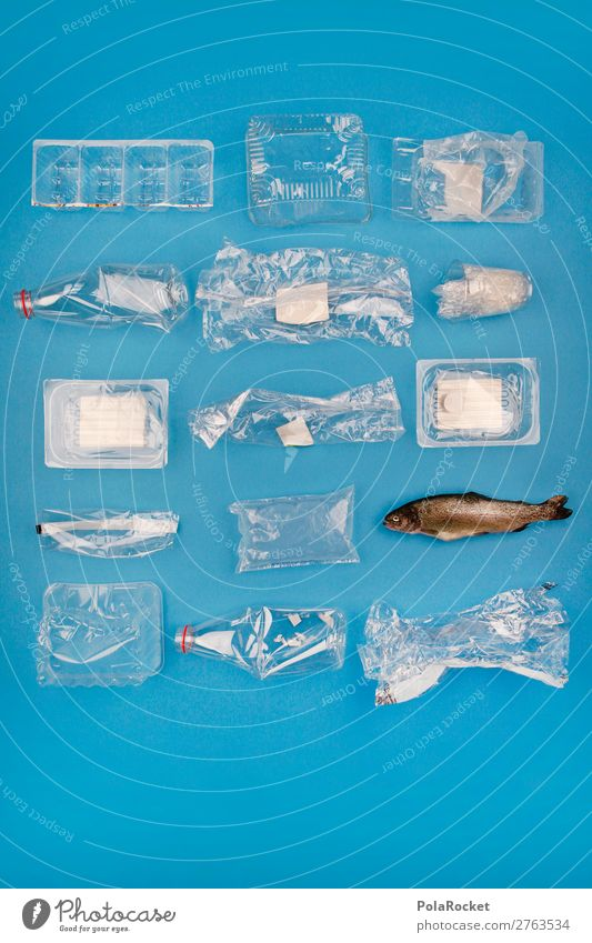 Art Esthetic Fish Symbols and metaphors Fear of the future Plastic Statue Trash Environmental protection Sculpture Sustainability Packaging Fishery