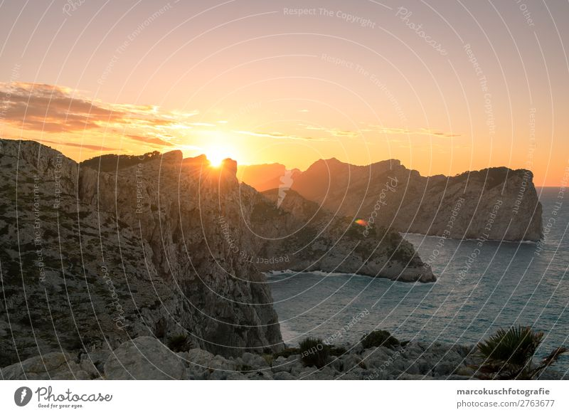 Sunset on Mallorca Leisure and hobbies Vacation & Travel Tourism Trip Adventure Far-off places Freedom Mountain Hiking Environment Landscape Earth Water Horizon