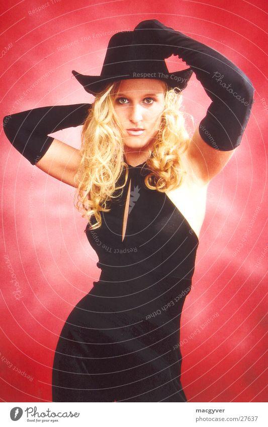 Woman Black Blonde Hat Velvet